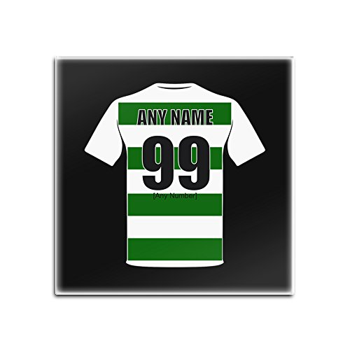 UNIGIFT Personalised Gift - Celtic Glass Square Coasters (Football Club Design Theme, Colour Options) - Any Name/Message on Your Unique Mat Pad - The Bhoys Hoops Celts from UNIGIFT
