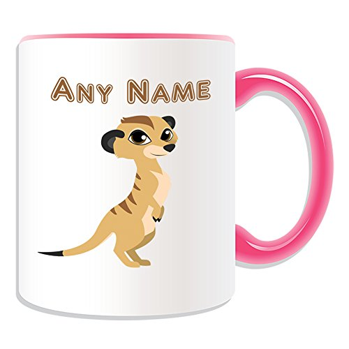 UNIGIFT Personalised Gift - Cute Standing Meerkat Mug (Animal Design Theme, Colour Options) - Any Name/Message on Your Unique - Big Eye Timon Mongoose from UNIGIFT