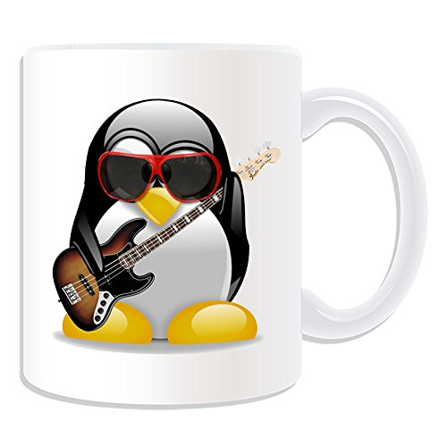 UNIGIFT Personalised Gift - Electric Bass Guitar Mug (Penguin in Costume Design Theme, White) - Any Name/Message on Your Unique - Music Musical Instrument from UNIGIFT