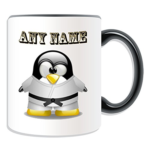 UNIGIFT Personalised Gift - Karate Black Belt Mug (Penguin in Costume Design Theme, Colour Options) - Any Name/Message on Your Unique - Judo in White from UNIGIFT
