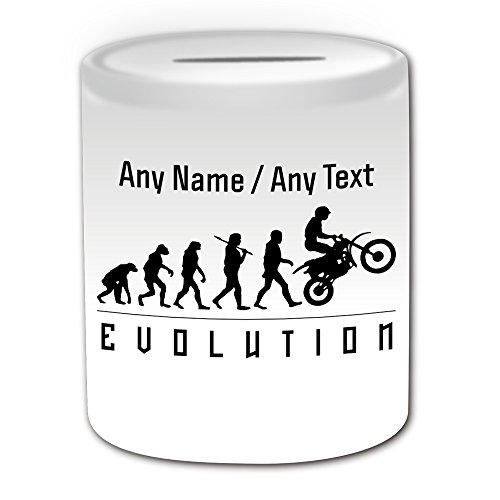 Personalised Gift - Motorcycling Money Box (Evolution Design White) Any Name Message Unique - Team Player Outline Olympic Game Sport Motorbike Motorcycle Moto Motorcycle Bike Cycle Race Rider Driver from UNIGIFT
