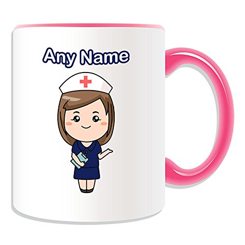 UNIGIFT Personalised Gift - Nurse in Navy Dress Mug (Health Service Design Theme, Colour Options) - Any Name/Message on Your Unique - National NHS Hospital Worker Staff Uniform Red Cross Hat from UNIGIFT