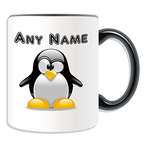 UNIGIFT Personalised Gift - Penguin Mug (Animal Design Theme, Colour Options) - Any Name/Message on Your Unique - Cross Eye from UNIGIFT