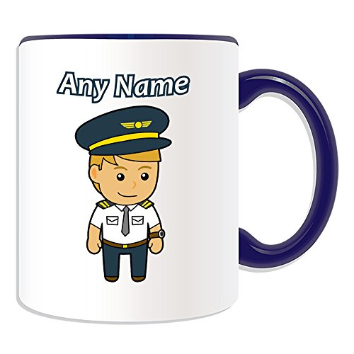 UNIGIFT Personalised Gift - Pilot/Aviator Mug (Career Design Theme, Colour Options) - Any Name/Message on Your Unique Mug - Aircraft from UNIGIFT