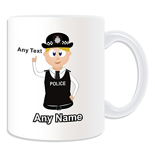 Personalised Gift - Police Constable / Sergeant / (Chief) Inspector Mug (Police Design Theme, White) - Any Name / Message on Your Unique - PC SGT INSP CID DS - Blonde / Yellow Hair Policewoman Hat Cap 2 - Detective from UNIGIFT