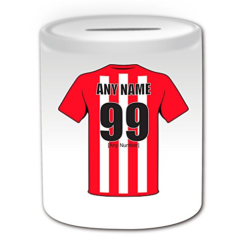 UNIGIFT Personalised Gift - Sunderland Money Box (Football Design Theme, White) - Any Name/Message on Your Unique - The Black Cats Club - Piggy Bank Saving Jar Pot from UNIGIFT