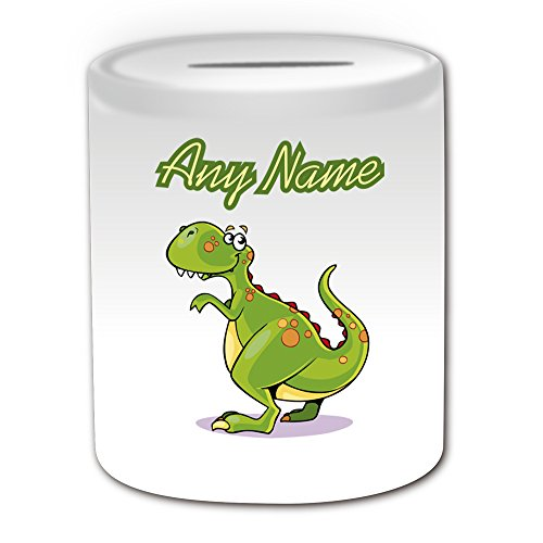 UNIGIFT Personalised Gift - T.Rex Money Box (Dinosaur Design Theme, White) - Any Name/Message on Your Unique - Piggy Bank Saving Jar Pot - Tyrannosaurus Rex Bone from UNIGIFT