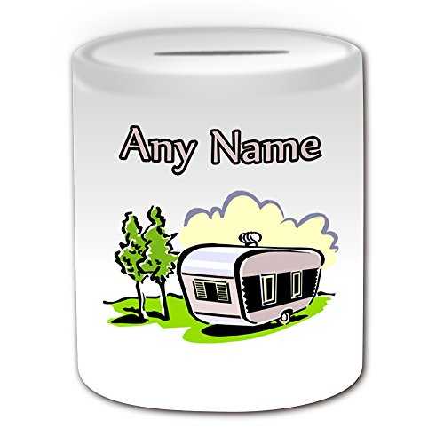 UNIGIFT Personalised Gift - Travel Trailer Money Box (Transport Design Theme, White) - Any Name/Message on Your Unique - Saving Piggy Bank - Campervan Van Mobile Motorhome Camper Caravan Vacation from UNIGIFT