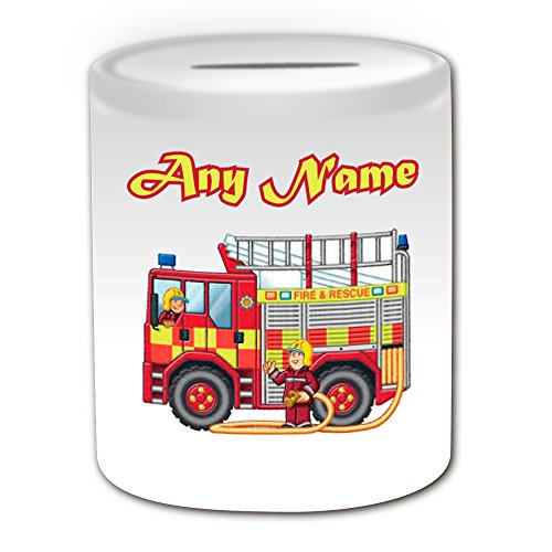 Personalised Gift - UK Fire Engine Money Box (Transport Design Theme, White) - Any Name / Message on Your Unique - Saving Piggy Bank - Truck Vehicle Fireman Fighter Emergency Services 999 Driver Automobile Apparatus Appliance Firefighting Firefighter from UNIGIFT