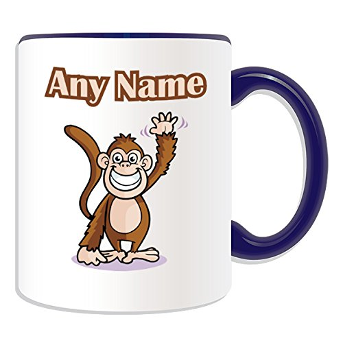 UNIGIFT Personalised Gift - Waving Monkey Mug (Animal Design Theme, Colour Options) - Any Name/Message on Your Unique Mug from UNIGIFT