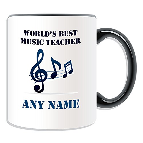 UNIGIFT Personalised Gift - World's Best Music Teacher/Stave and Notes Mug (Academic Design Theme, Colour Options) - Any Name/Message on Your Unique - School College University from UNIGIFT
