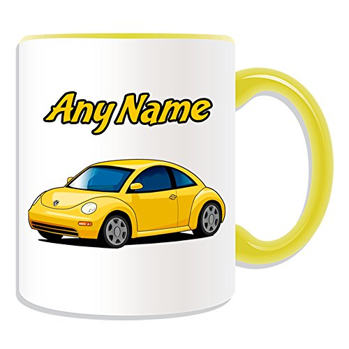 UNIGIFT Personalised Gift - Yellow Car Mug (Transport Design Theme, Colour Options) - Any Name/Message on Your Unique - Vehicle Automobile Cute Driver Automobile Kid Anniversary Cup from UNIGIFT