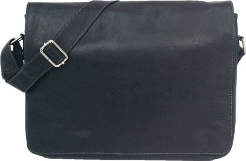 "Unicorn Real Leather Black 16.9"" Laptop Bag Messenger #1L from Unicorn London"