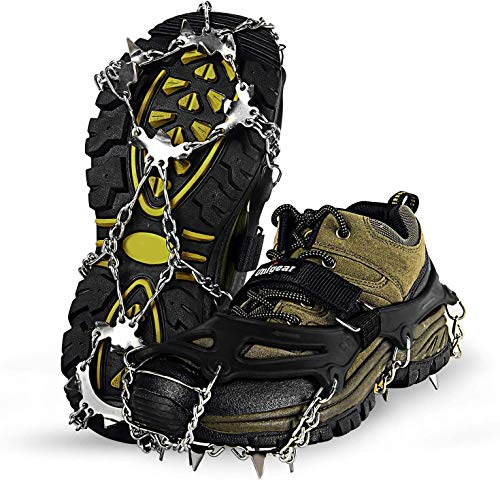 Unigear Traction Cleats Ice Snow Grips with 18 Spikes for Walking, Jogging, Climbing and Hiking(Black-M) from Unigear