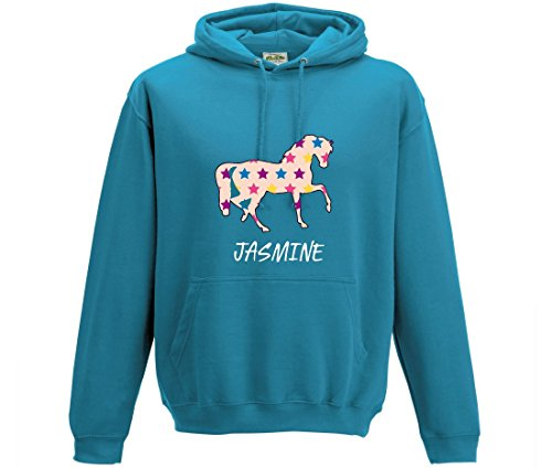 iLeisure Girl's Personalised Horse Hoodie with Stars- Various Colours Available (9-11, Turquoise) from Union Leisurewear Ltd