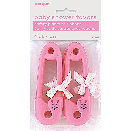 Unique Party 13662 - 11cm Plastic Pink Safety Pin with Ribbon Baby Shower Favours, Pack of 4 from Unique Party