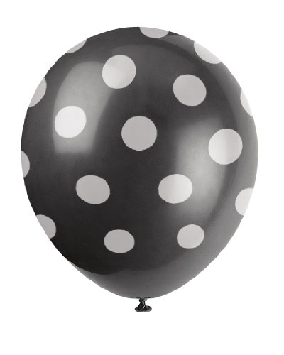 "Unique Party 57590 - 12"" Latex Black Polka Dot Balloons, Pack of 6 from Unique Party"