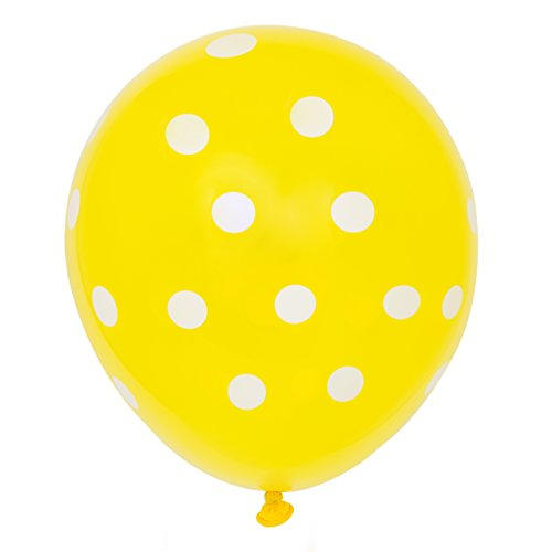 "Unique Party 12"" Latex Yellow Polka Dot Balloons, Pack of 6 from Unique Party"