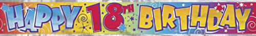 Unique Party 90020T - 12ft Foil Happy 18th Birthday Banner from Unique Party