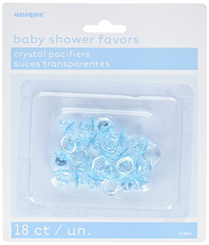 Unique Party 13641 - 2.5cm Plastic Blue Dummy Baby Shower Favours, Pack of 18 from Unique Party