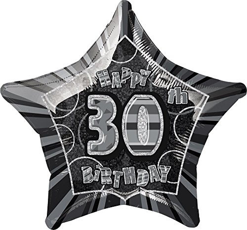 "Unique Party 55149 - 20"" Foil Glitz Black Happy 30th Birthday Balloon from Unique Party"
