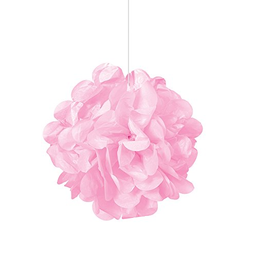 Unique Party 64210 - 23cm Small Baby Pink Tissue Paper Pom Poms, Pack of 3 from Unique Party