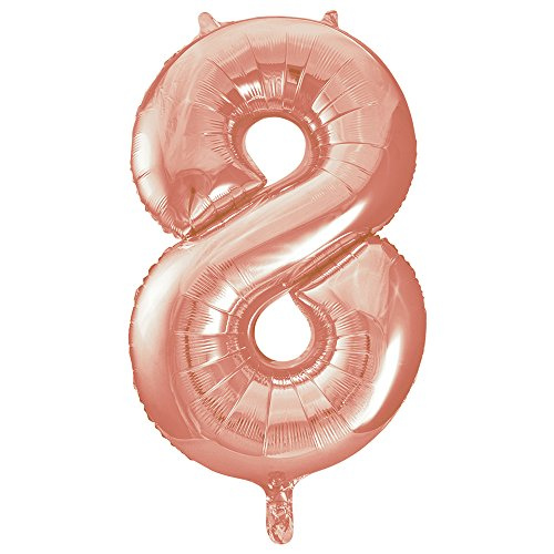 "Unique Party 55878 - 34"" Giant Rose Gold Foil Number 8 Balloon from Unique Party"