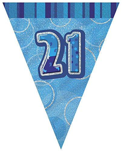 Unique Party 92082 - 9ft Foil Glitz Blue 21st Birthday Bunting Flags from Unique Party