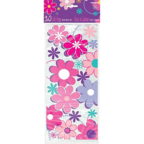 Unique Party 40290 - Cellophane Birthday Blossom Party Bags, Pack of 20 from Unique Party