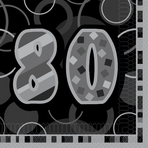 Unique Party 28487 - Glitz Black 80th Birthday Paper Napkins, Pack of 16 from Unique Party