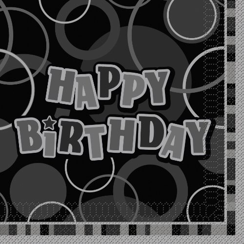 Unique Party 28472 - Glitz Black Happy Birthday Paper Napkins, Pack of 16 from Unique Party