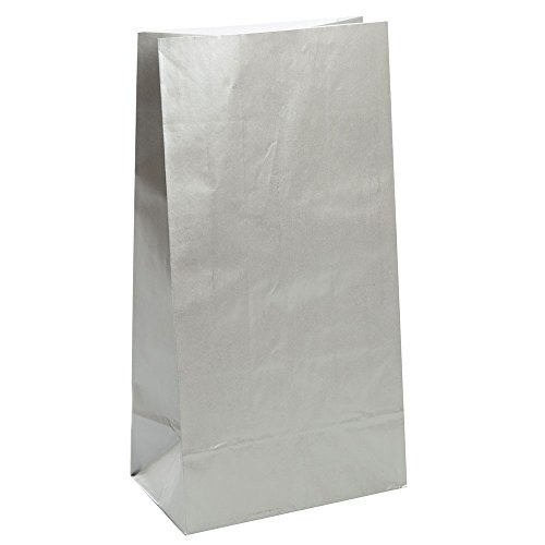 Unique Party 59018 - Metallic Silver Paper Party Bags, Pack of 10 from Unique Party