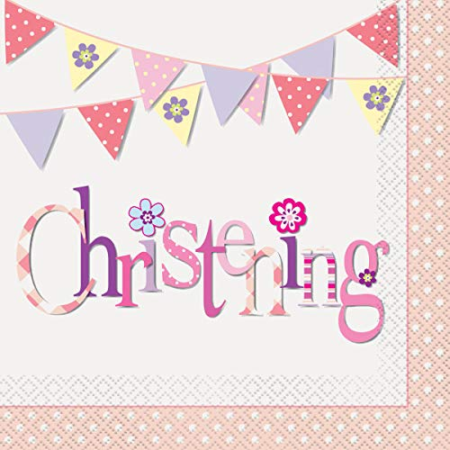 Unique Party 52032 - Pink Bunting Christening Napkins, Pack of 16 from Unique Party