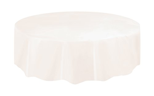 Unique Party 50022 - Round Ivory Plastic Tablecloth, 7ft from Unique Party