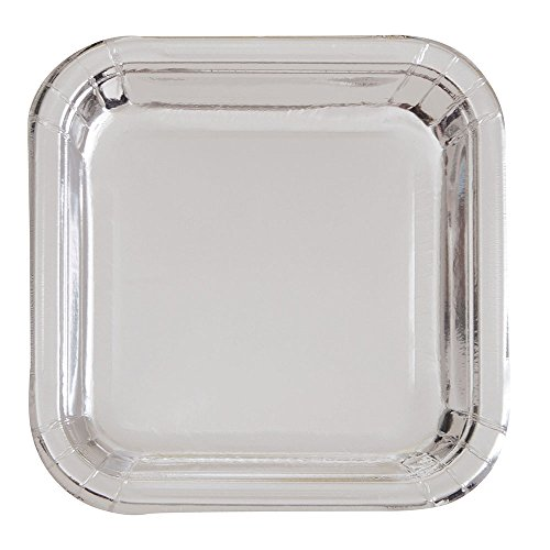 Unique Party 32325 - 23cm Foil Silver Square Paper Party Plates, Pack of 8 from Unique Party