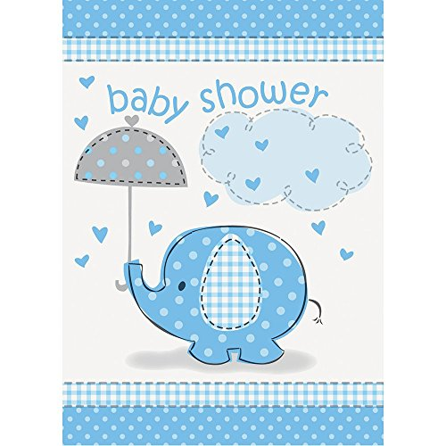 Unique Party 41714 - Blue Elephant Baby Shower Invitations, Pack of 8 from Unique Party