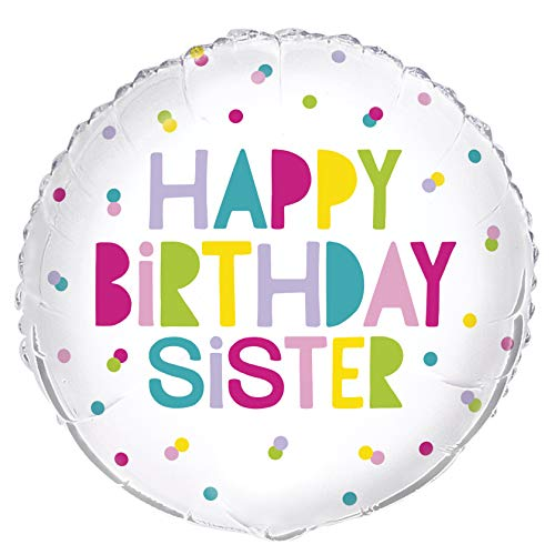 "Unique Party 54043 54043-18"" Foil Happy Birthday Sister Balloon, Multi from Unique Party"