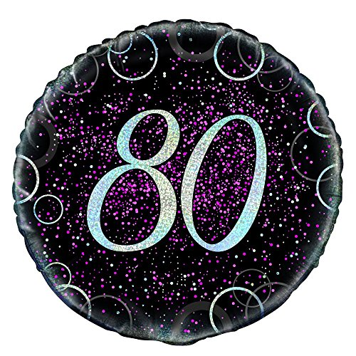 "Unique Party 55800 - 18"" Glitz Pink Foil 80th Birthday Balloon from Unique Party"
