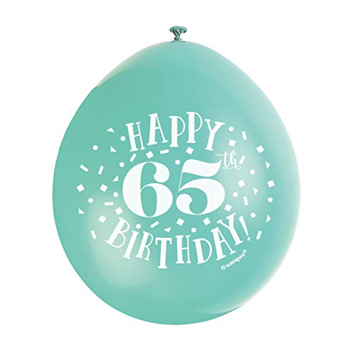 "Unique Party 56053 - 9"" Latex Assorted Happy 65th Birthday Balloons, Pack of 10 from Unique Party"