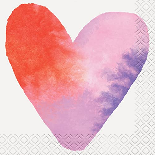 Unique Party 58561 - Watercolour Hearts Valentine's Day Cocktail Napkins, Pack of 16 from Unique Party
