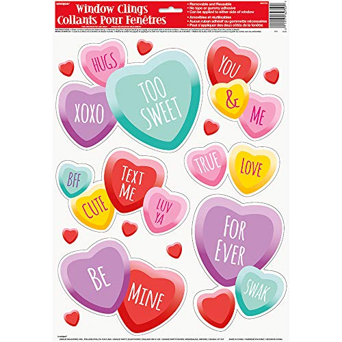 Unique Party 62750 - Candy Hearts Valentine Window Cling Sheet from Unique Party