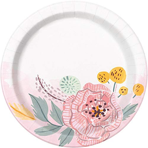 Unique Party 72554 - 18cm Painted Pink Floral Paper Plates, Pack of 8 from Unique Party