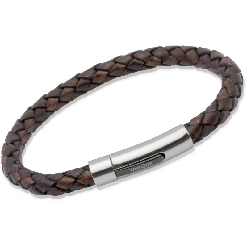 Ladies Unique & Co Stainless Steel Antique Dark Brown Leather Bracelet from Unique & Co