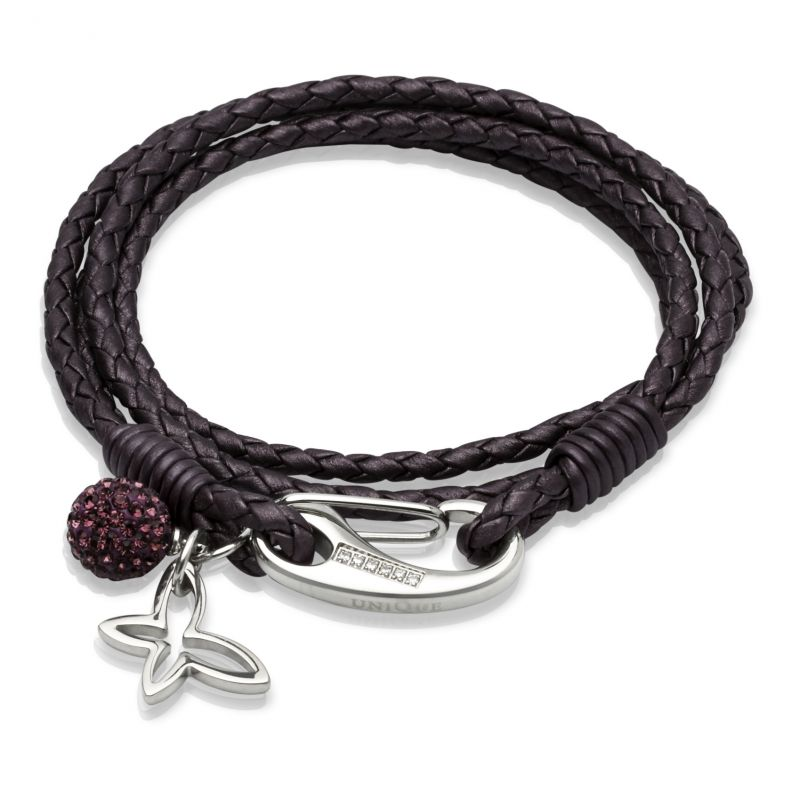 Ladies Unique & Co Stainless Steel Leather Bracelet from Unique & Co