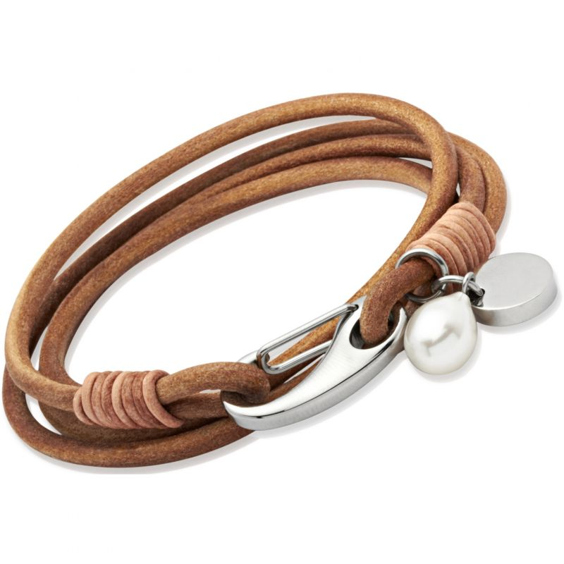 Ladies Unique & Co Stainless Steel Natural Leather Bracelet from Unique & Co