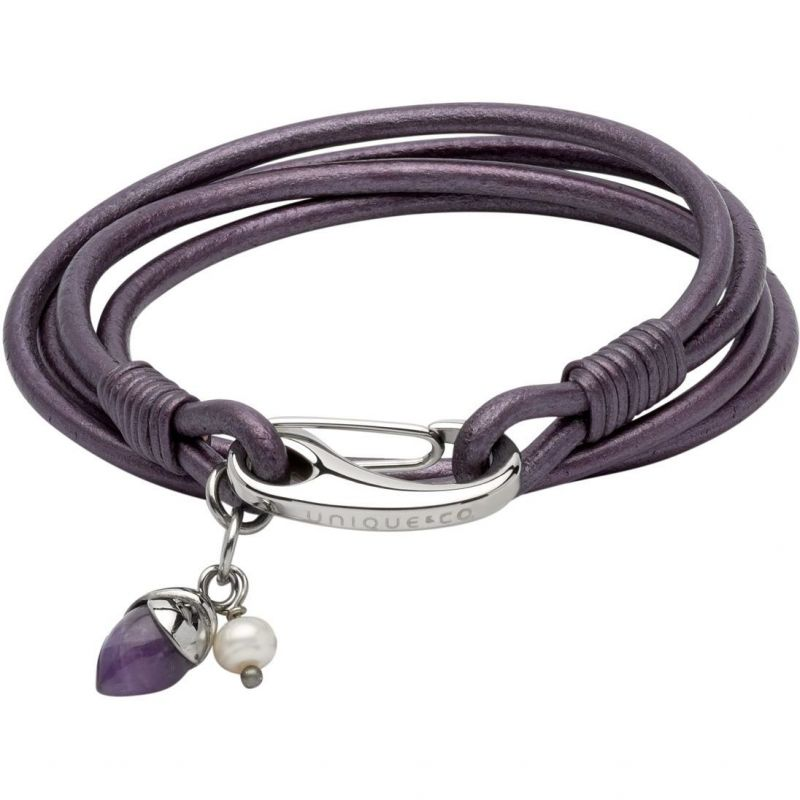 Ladies Unique & Co Stainless Steel & Leather Bracelet from Unique & Co