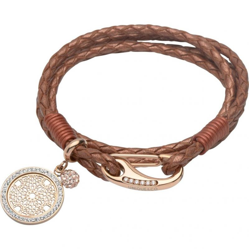Ladies Unique & Co Stainless Steel & Leather Crystal Charm Bracelet from Unique & Co