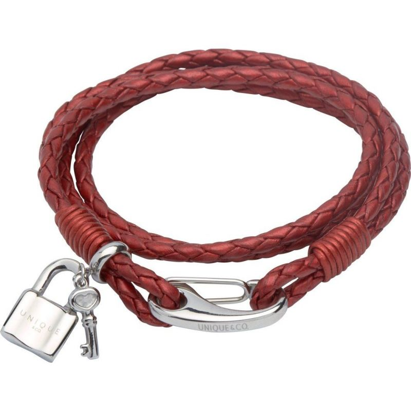 Ladies Unique & Co Stainless Steel & Leather Padlock & Key Charm Bracelet from Unique & Co