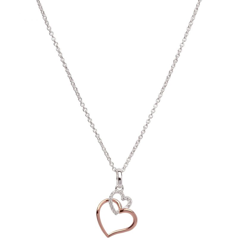 Unique & Co Ladies Sterling Silver Double Heart Necklace MK-612 from Unique & Co