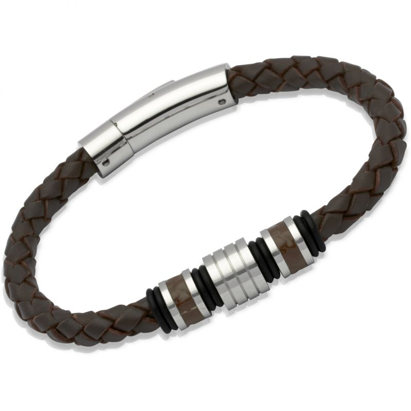 Mens Unique & Co Stainless Steel Leather Bracelet from Unique & Co